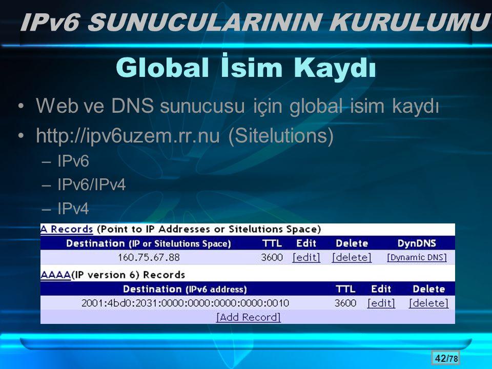 42/ 78 Global İsim Kaydı •Web ve DNS sunucusu için global isim kaydı •http://ipv6uzem.rr.nu (Sitelutions) –IPv6 –IPv6/IPv4 –IPv4 IPv6 SUNUCULARININ KU