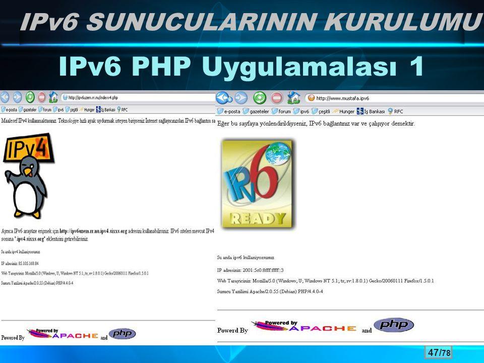 47/ 78 IPv6 PHP Uygulamalası 1 IPv6 SUNUCULARININ KURULUMU