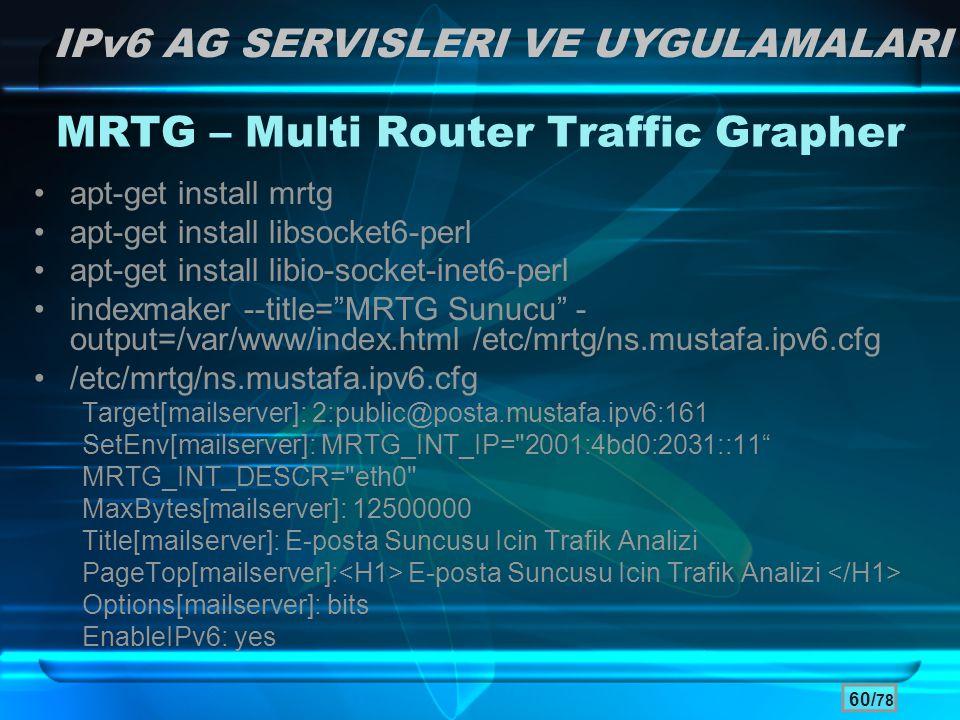 60/ 78 MRTG – Multi Router Traffic Grapher •apt-get install mrtg •apt-get install libsocket6-perl •apt-get install libio-socket-inet6-perl •indexmaker