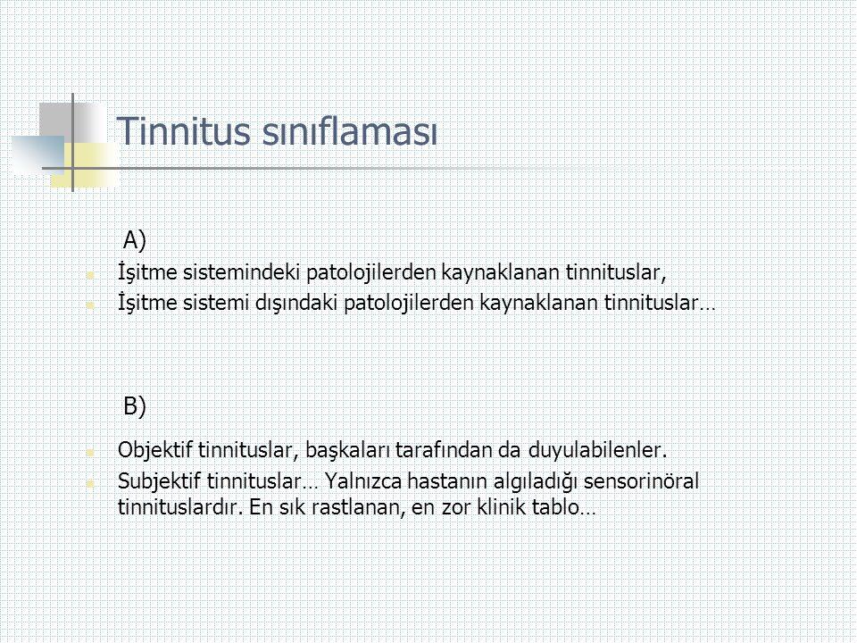 Tinnitus sınıflaması A)  İşitme sistemindeki patolojilerden kaynaklanan tinnituslar,  İşitme sistemi dışındaki patolojilerden kaynaklanan tinnitusla