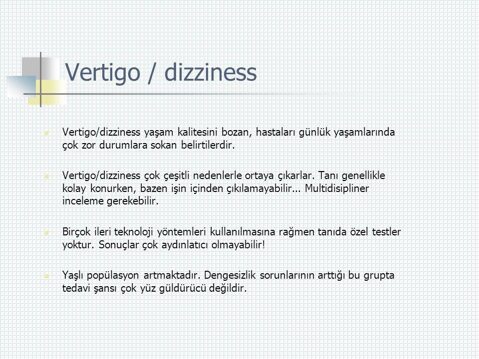 Vertigo  Sersemleme -Ateş, hipoglisemi, mobilizasyon, hiperventilasyon  Dengesizlik -Karanlıkta serebellar inkoordinasyon  Baygınlık -Serebral iskemiye yol açan nedenler (Hipotansiyon, anemi, hipovolemi, bradikardi)  Vertigo çeşitli duyguların ifadesi olabilir;