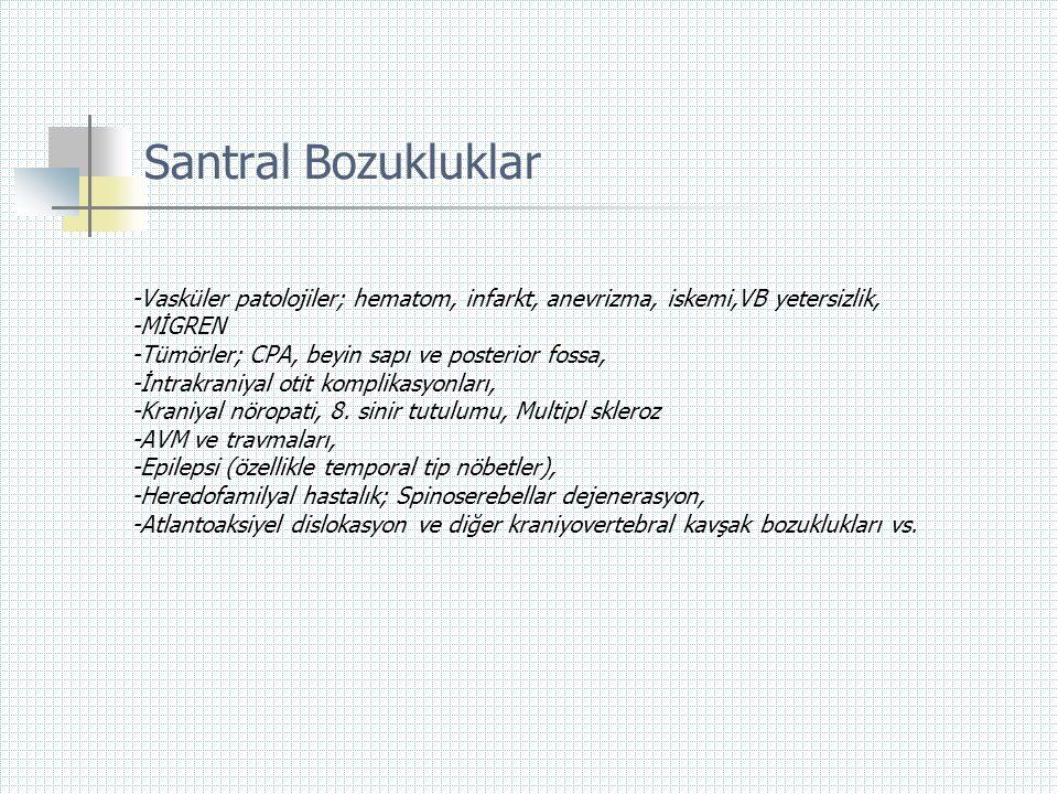 Santral Bozukluklar -Vasküler patolojiler; hematom, infarkt, anevrizma, iskemi,VB yetersizlik, -MİGREN -Tümörler; CPA, beyin sapı ve posterior fossa,