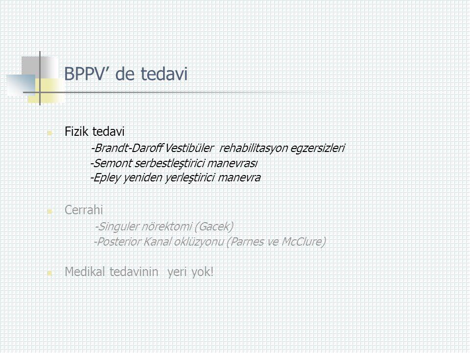 BPPV' de tedavi  Fizik tedavi -Brandt-Daroff Vestibüler rehabilitasyon egzersizleri -Semont serbestleştirici manevrası -Epley yeniden yerleştirici ma