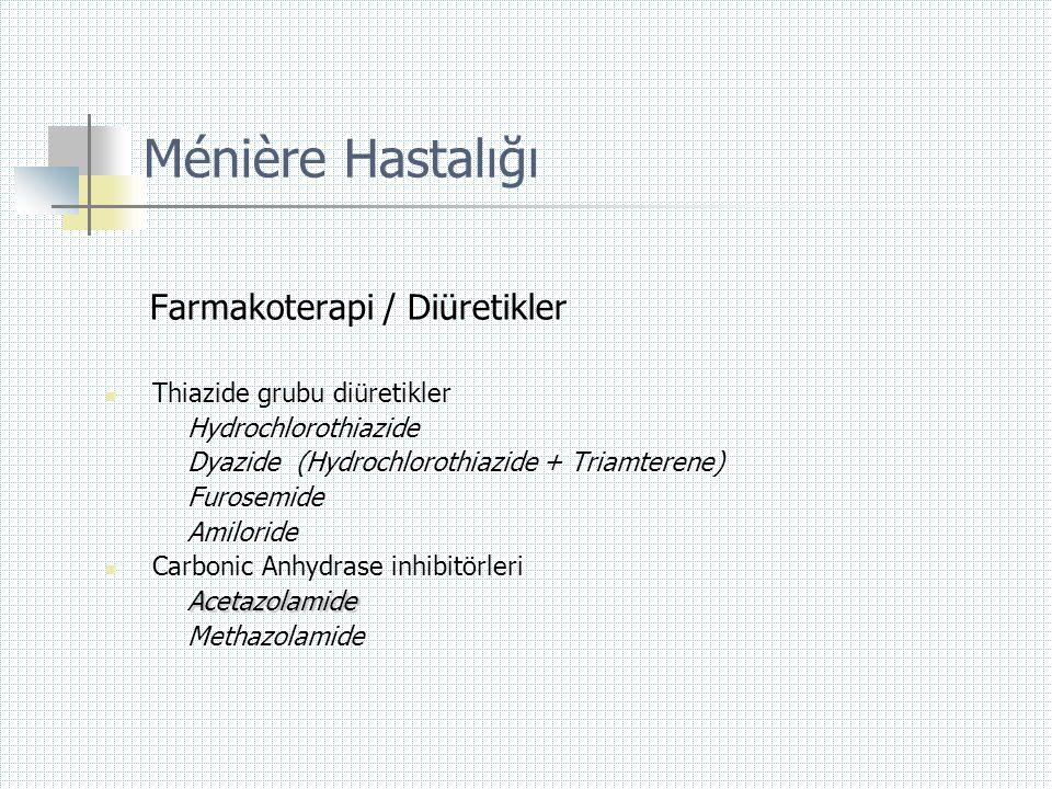 Ménière Hastalığı Farmakoterapi / Diüretikler  Thiazide grubu diüretikler Hydrochlorothiazide Dyazide (Hydrochlorothiazide + Triamterene) Furosemide