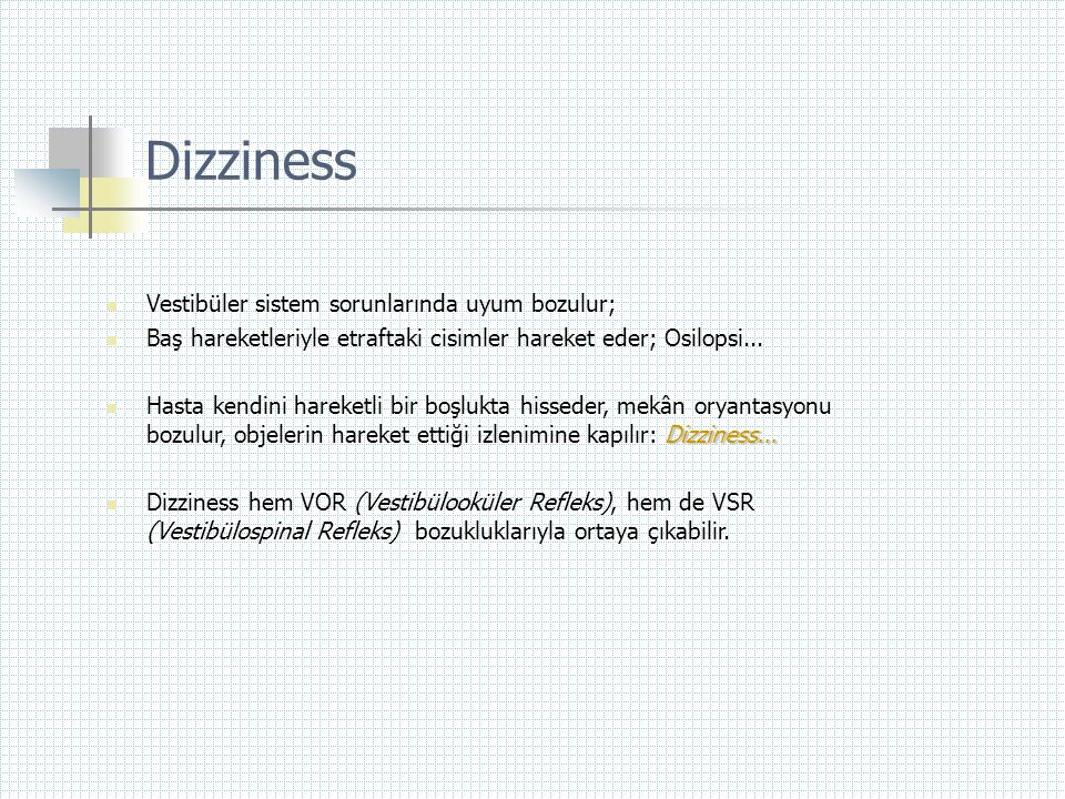 Dizziness  Vestibüler sistem sorunlarında uyum bozulur;  Baş hareketleriyle etraftaki cisimler hareket eder; Osilopsi... Dizziness...  Hasta kendin