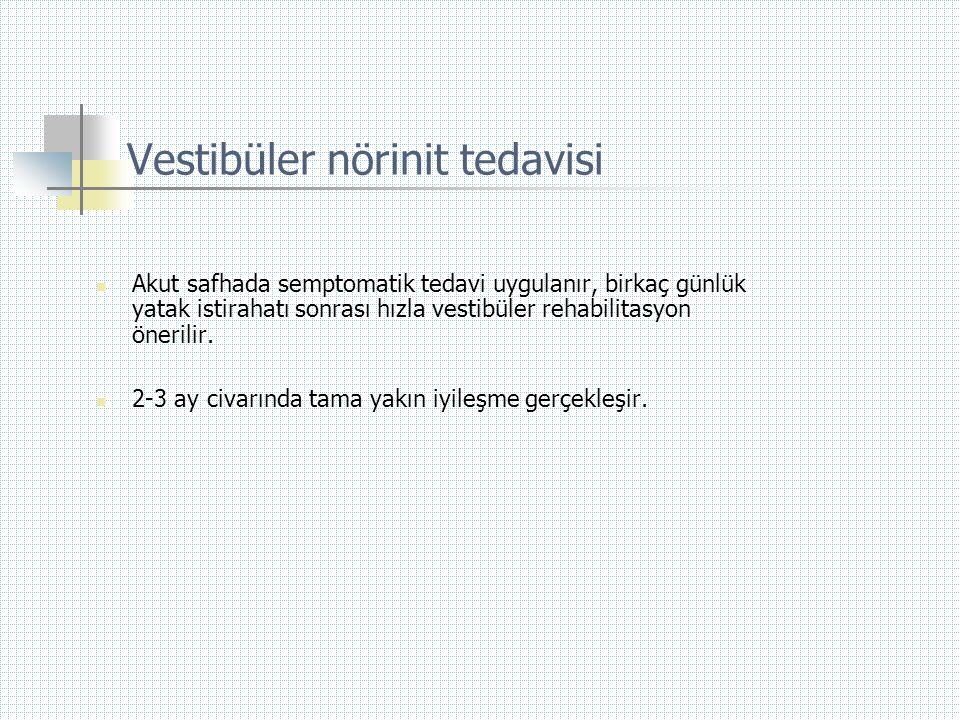 Vestibüler nörinit tedavisi  Akut safhada semptomatik tedavi uygulanır, birkaç günlük yatak istirahatı sonrası hızla vestibüler rehabilitasyon öneril