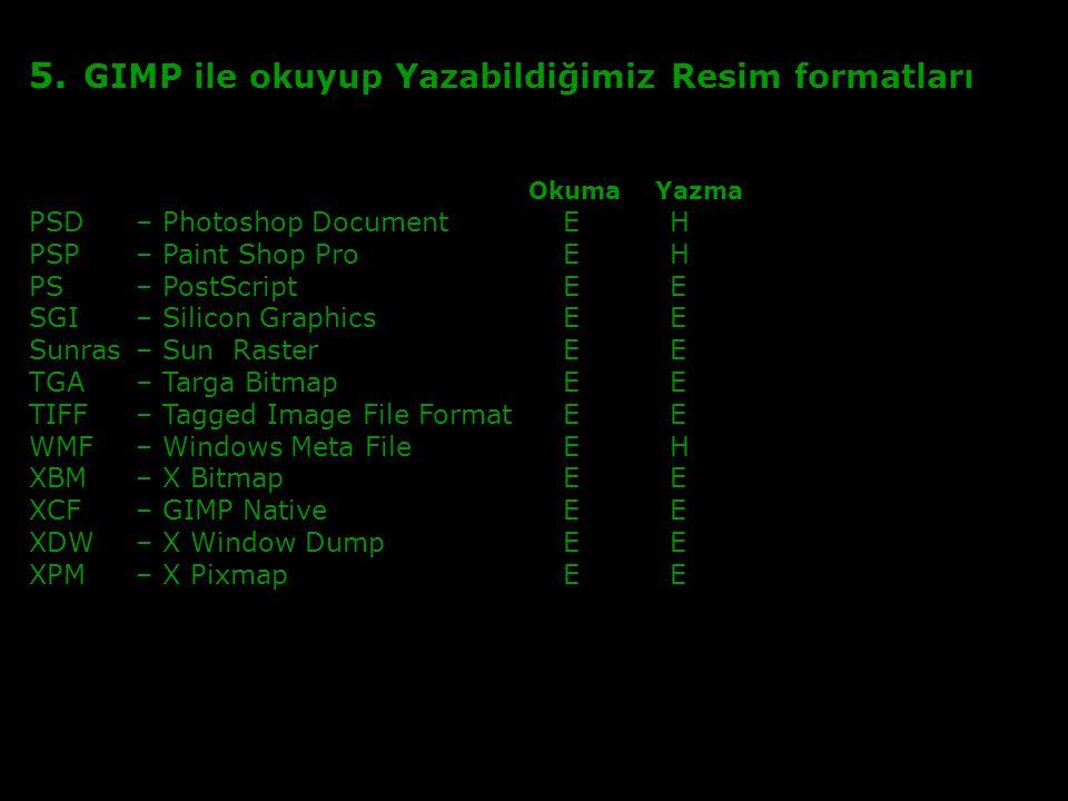 5. GIMP ile okuyup Yazabildiğimiz Resim formatları Okuma Yazma PSD – Photoshop DocumentEH PSP – Paint Shop ProEH PS– PostScriptEE SGI – Silicon Graphi