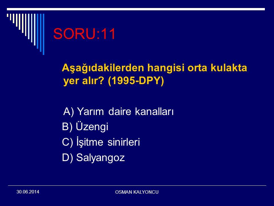 OSMAN KALYONCU 30.06.2014 SORU:11 Aşağıdakilerden hangisi orta kulakta yer alır? (1995-DPY) A) Yarım daire kanalları B) Üzengi C) İşitme sinirleri D)