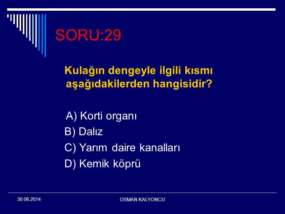OSMAN KALYONCU 30.06.2014 SORU:29 Kulağın dengeyle ilgili kısmı aşağıdakilerden hangisidir? A) Korti organı B) Dalız C) Yarım daire kanalları D) Kemik