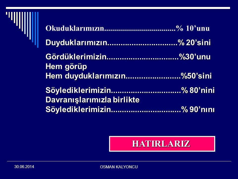 OSMAN KALYONCU 30.06.2014 ÇEVREMİZİ NASIL ALGILIYORUZ.