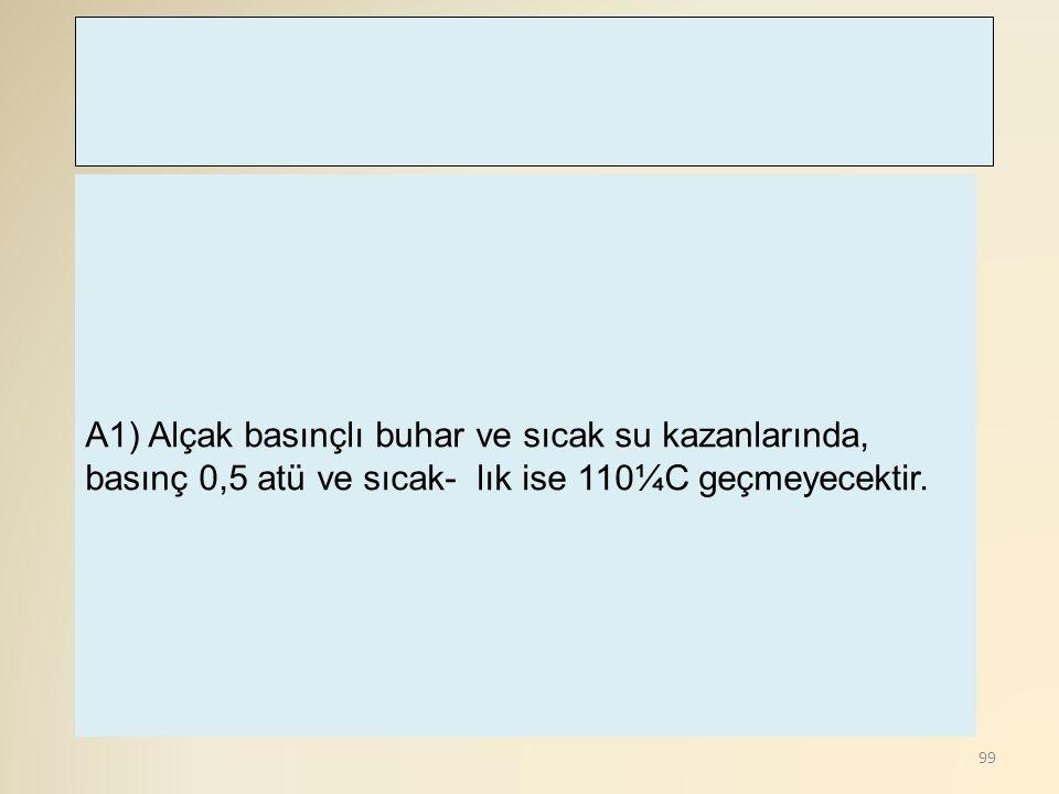 100 A 7) Kazan içerisinde gerekli tedbirler alınmadıkça, oksi - asetilen kaynağı yapılmayacaktır.