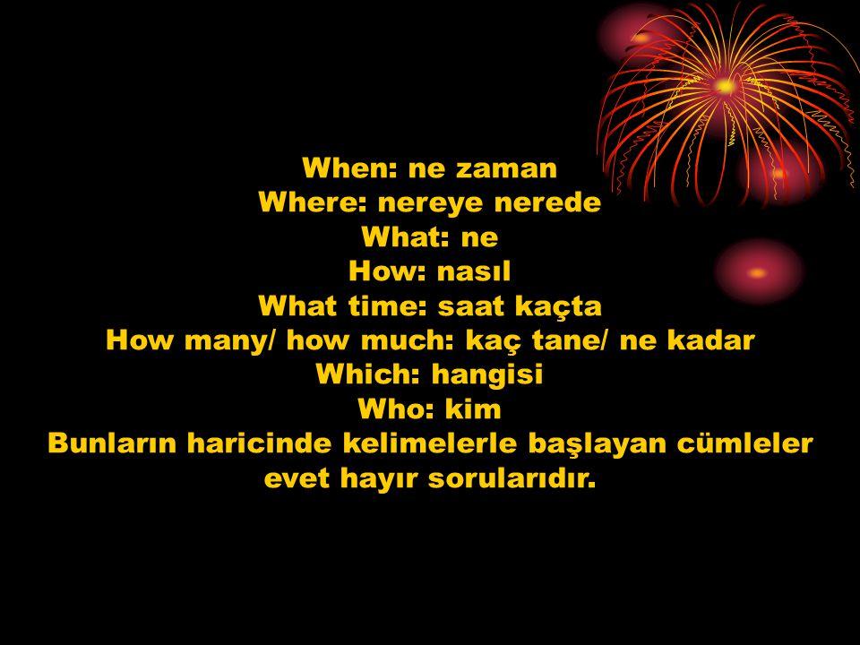 When: ne zaman Where: nereye nerede What: ne How: nasıl What time: saat kaçta How many/ how much: kaç tane/ ne kadar Which: hangisi Who: kim Bunların haricinde kelimelerle başlayan cümleler evet hayır sorularıdır.