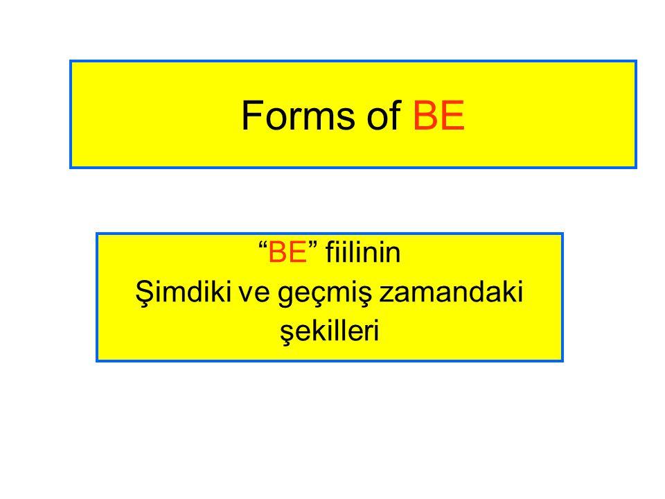 """Forms of BE """"BE"""" fiilinin Şimdiki ve geçmiş zamandaki şekilleri"""