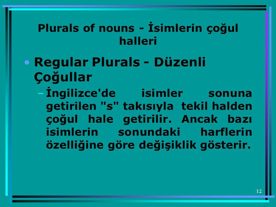 12 Plurals of nouns - İsimlerin çoğul halleri •Regular Plurals - Düzenli Çoğullar –İngilizce'de isimler sonuna getirilen