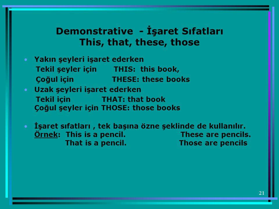 21 Demonstrative - İşaret Sıfatları This, that, these, those •Yakın şeyleri işaret ederken Tekil şeyler için THIS: this book, Çoğul için THESE: these