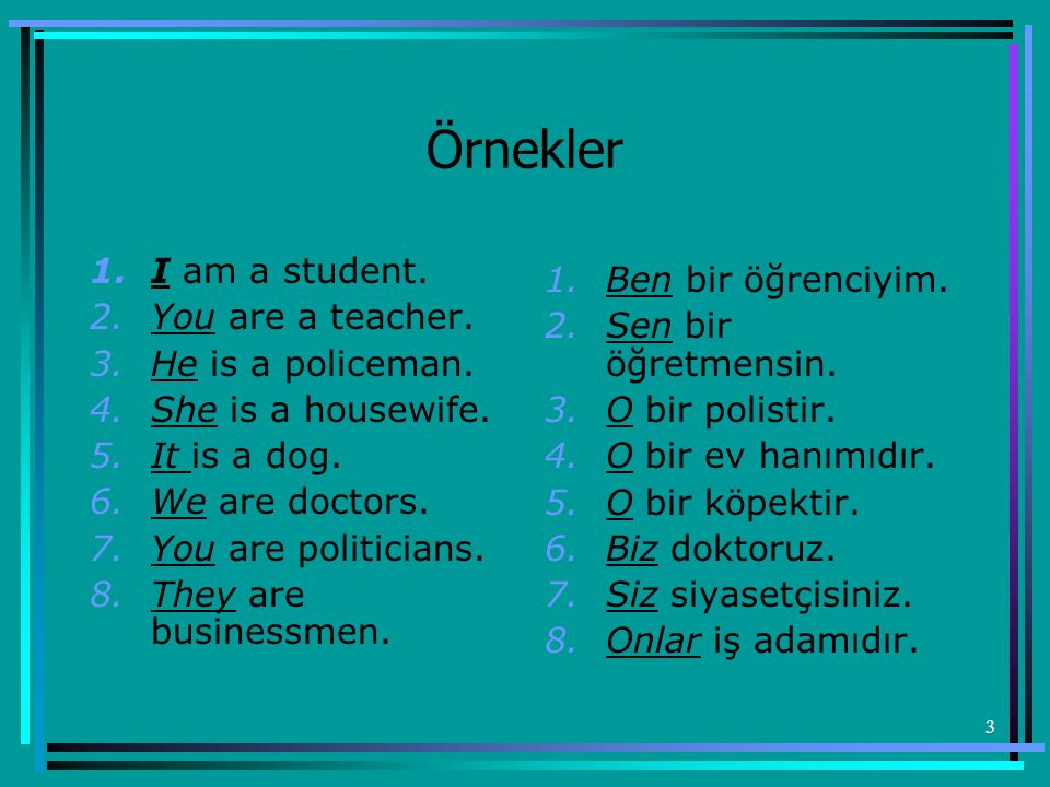 3 Örnekler 1.I am a student.2.You are a teacher. 3.He is a policeman.