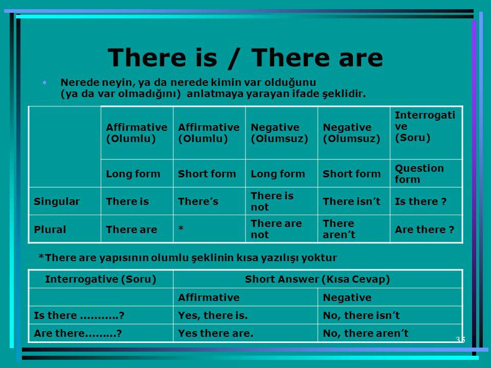 35 There is / There are •Nerede neyin, ya da nerede kimin var olduğunu (ya da var olmadığını) anlatmaya yarayan ifade şeklidir. Affirmative (Olumlu) N