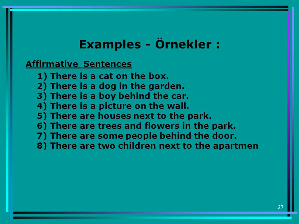 37 Examples - Örnekler : Affirmative Sentences 1) There is a cat on the box.