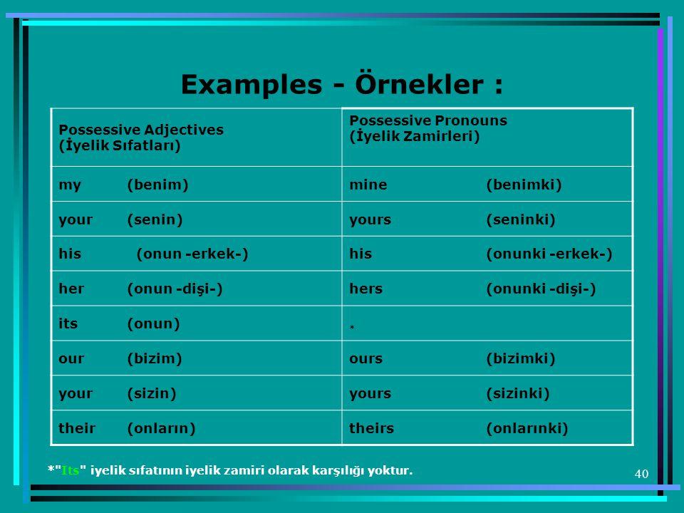 40 Examples - Örnekler : Possessive Adjectives (İyelik Sıfatları) Possessive Pronouns (İyelik Zamirleri) my(benim)mine(benimki) your(senin)yours(senin