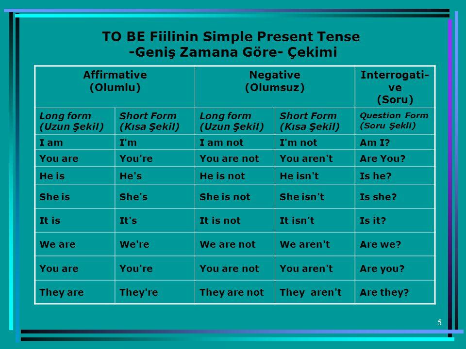 5 TO BE Fiilinin Simple Present Tense -Geniş Zamana Göre- Çekimi Affirmative (Olumlu) Negative (Olumsuz) Interrogati- ve (Soru) Long form (Uzun Şekil)