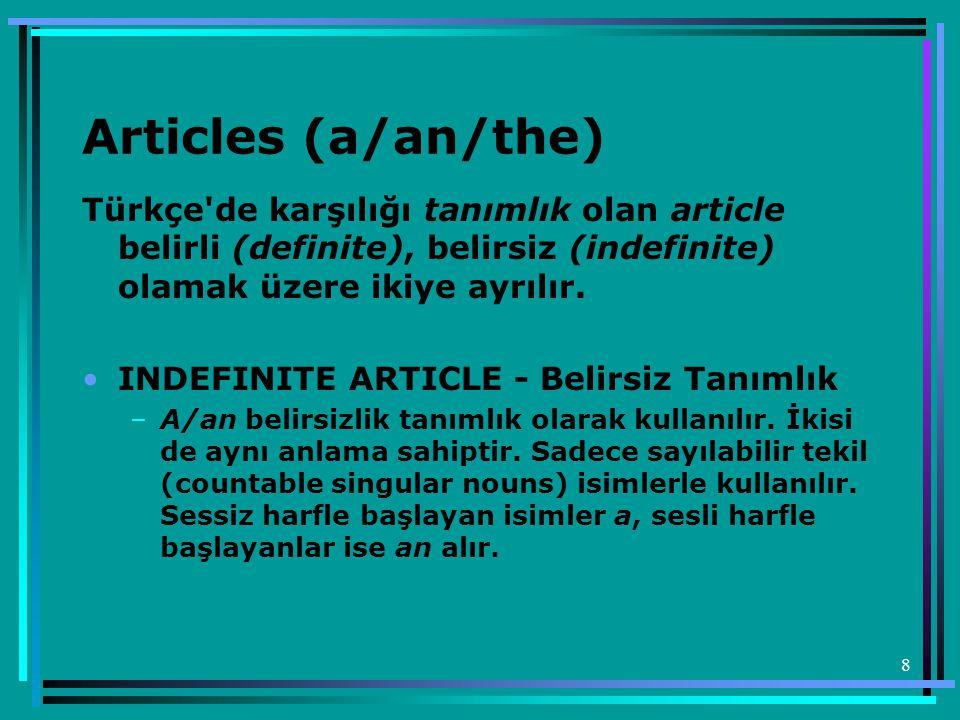 8 Articles (a/an/the) Türkçe'de karşılığı tanımlık olan article belirli (definite), belirsiz (indefinite) olamak üzere ikiye ayrılır. •INDEFINITE ARTI