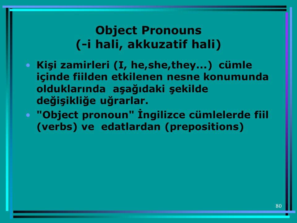 80 Object Pronouns (-i hali, akkuzatif hali) •Kişi zamirleri (I, he,she,they...) cümle içinde fiilden etkilenen nesne konumunda olduklarında aşağıdaki