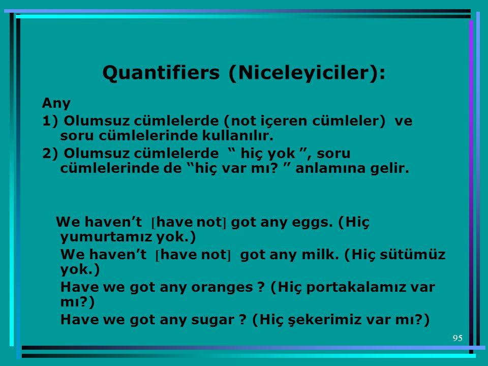 """95 Quantifiers (Niceleyiciler): Any 1) Olumsuz cümlelerde (not içeren cümleler) ve soru cümlelerinde kullanılır. 2) Olumsuz cümlelerde """" hiç yok """", so"""