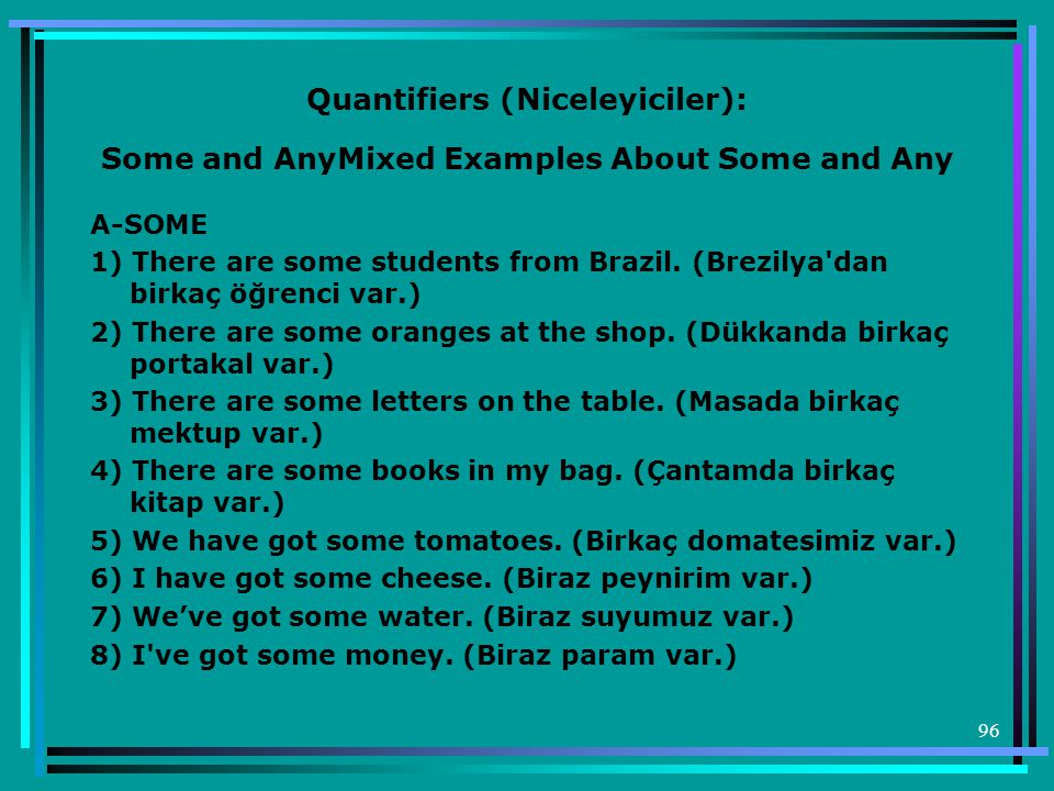 96 Quantifiers (Niceleyiciler): Some and AnyMixed Examples About Some and Any A-SOME 1) There are some students from Brazil.