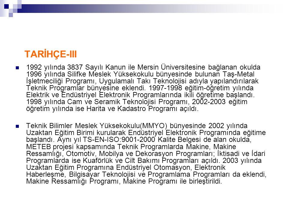 TARİHÇE-III  1992 yılında 3837 Sayılı Kanun ile Mersin Üniversitesine bağlanan okulda 1996 yılında Silifke Meslek Yüksekokulu bünyesinde bulunan Taş-
