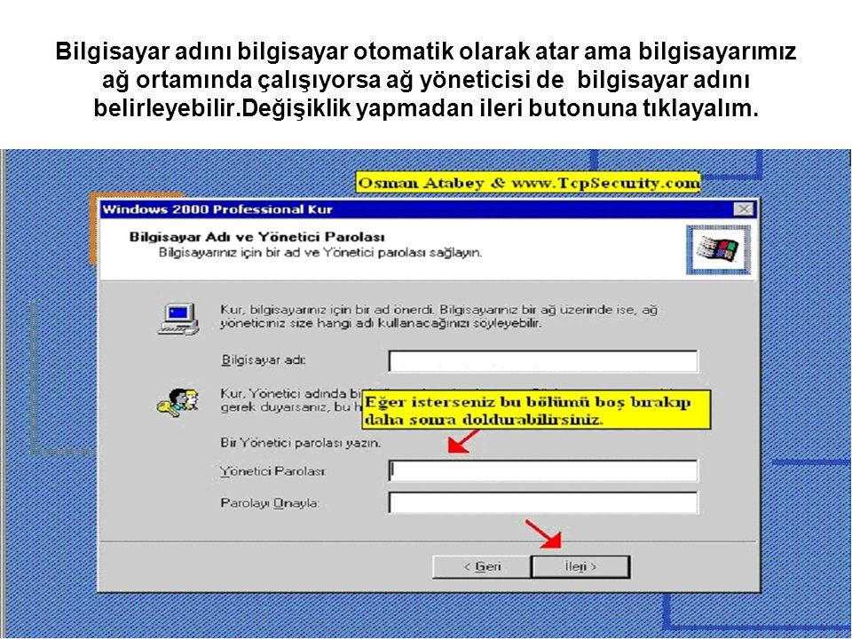 Bilgisayar adını bilgisayar otomatik olarak atar ama bilgisayarımız ağ ortamında çalışıyorsa ağ yöneticisi de bilgisayar adını belirleyebilir.Değişikl