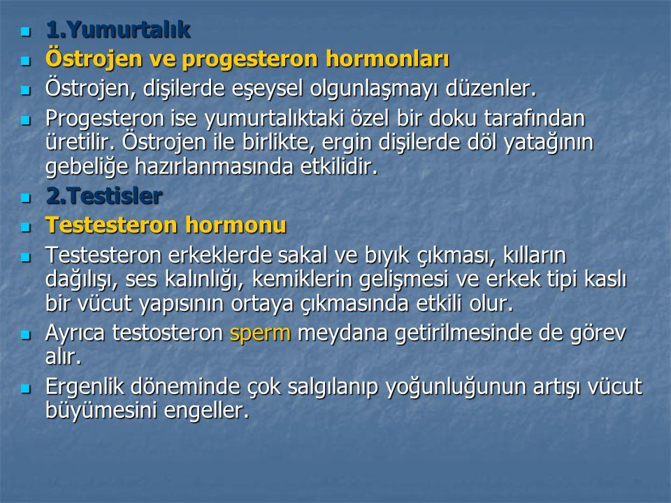  1.Yumurtalık  Östrojen ve progesteron hormonları  Östrojen, dişilerde eşeysel olgunlaşmayı düzenler.
