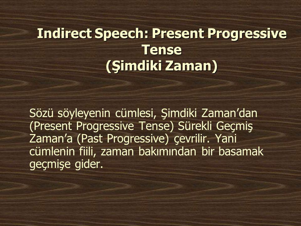 Indirect Speech: Present Progressive Tense (Şimdiki Zaman) Sözü söyleyenin cümlesi, Şimdiki Zaman'dan (Present Progressive Tense) Sürekli Geçmiş Zaman