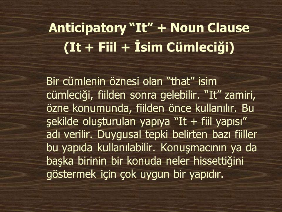 """Anticipatory """"It"""" + Noun Clause (It + Fiil + İsim Cümleciği) Bir cümlenin öznesi olan """"that"""" isim cümleciği, fiilden sonra gelebilir. """"It"""" zamiri, özn"""