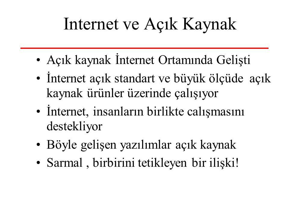 12 Internet ve Açık Kaynak •Açık kaynak İnternet Ortamında Gelişti •İnternet açık standart ve büyük ölçüde açık kaynak ürünler üzerinde çalışıyor •İnt