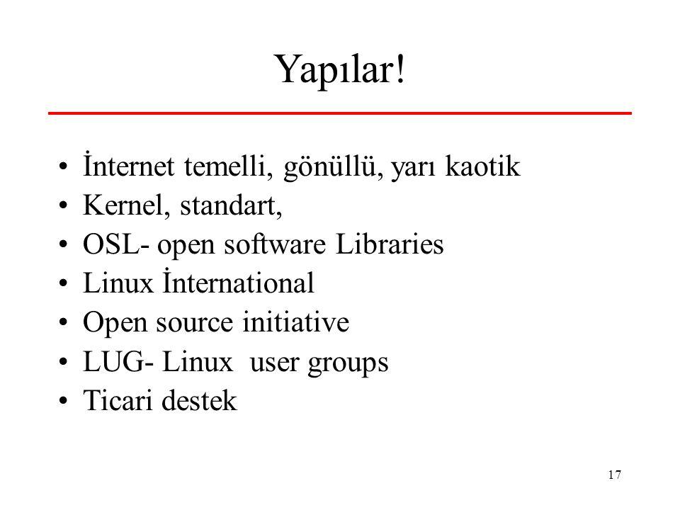 17 Yapılar! •İnternet temelli, gönüllü, yarı kaotik •Kernel, standart, •OSL- open software Libraries •Linux İnternational •Open source initiative •LUG