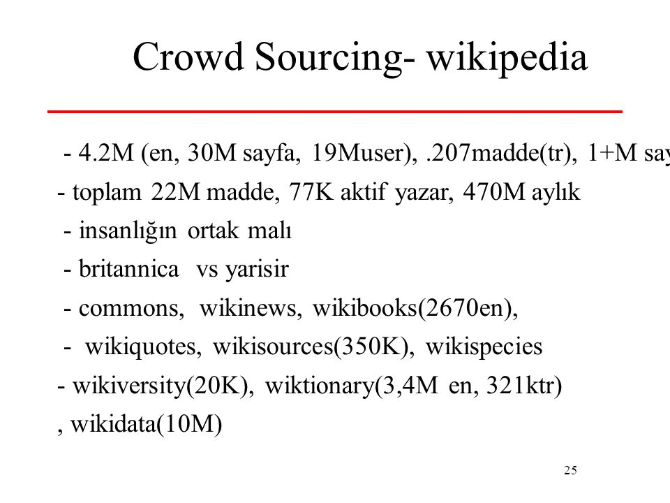 25 Crowd Sourcing- wikipedia - 4.2M (en, 30M sayfa, 19Muser),.207madde(tr), 1+M sayfa - toplam 22M madde, 77K aktif yazar, 470M aylık - insanlığın ort