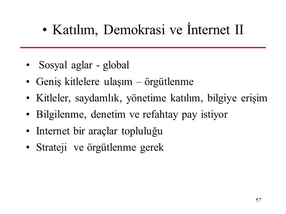 57 •Katılım, Demokrasi ve İnternet II • Sosyal aglar - global •Geniş kitlelere ulaşım – örgütlenme •Kitleler, saydamlık, yönetime katılım, bilgiye eri
