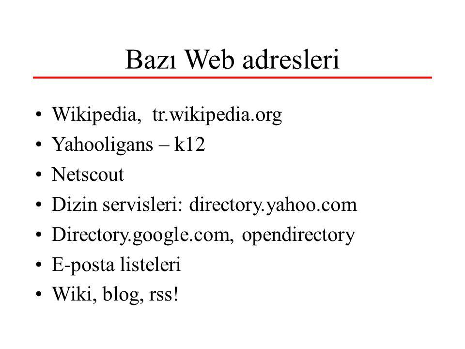 Bazı Web adresleri •Wikipedia, tr.wikipedia.org •Yahooligans – k12 •Netscout •Dizin servisleri: directory.yahoo.com •Directory.google.com, opendirecto