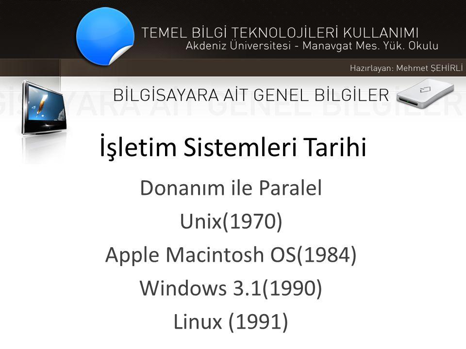 İşletim Sistemleri Tarihi Donanım ile Paralel Unix(1970) Apple Macintosh OS(1984) Windows 3.1(1990) Linux (1991)