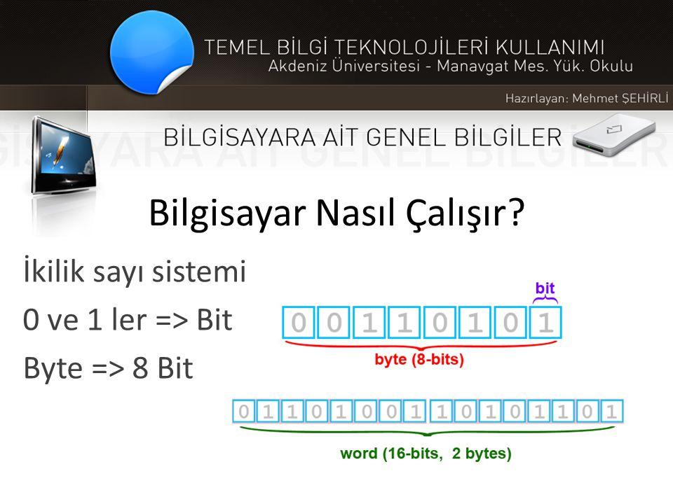 Bilgisayar Nasıl Çalışır? İkilik sayı sistemi 0 ve 1 ler => Bit Byte => 8 Bit