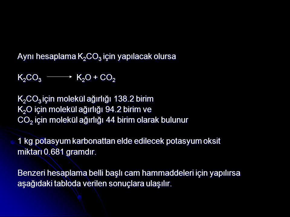 Aynı hesaplama K 2 CO 3 için yapılacak olursa K 2 CO 3 K 2 O + CO 2 K 2 CO 3 için molekül ağırlığı 138.2 birim K 2 O için molekül ağırlığı 94.2 birim ve CO 2 için molekül ağırlığı 44 birim olarak bulunur 1 kg potasyum karbonattan elde edilecek potasyum oksit miktarı 0.681 gramdır.