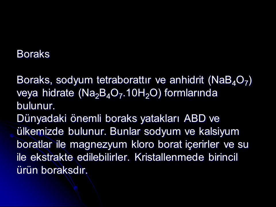 Boraks Boraks, sodyum tetraborattır ve anhidrit (NaB 4 O 7 ) veya hidrate (Na 2 B 4 O 7.10H 2 O) formlarında bulunur.