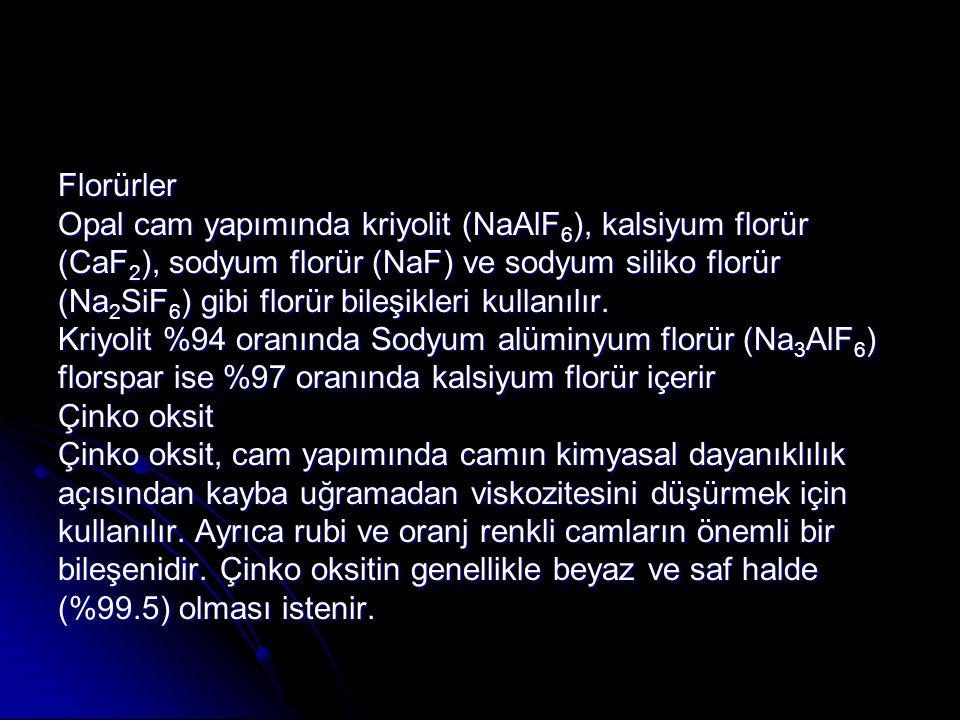 Florürler Opal cam yapımında kriyolit (NaAlF 6 ), kalsiyum florür (CaF 2 ), sodyum florür (NaF) ve sodyum siliko florür (Na 2 SiF 6 ) gibi florür bile