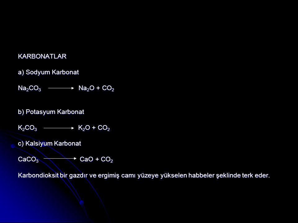 KARBONATLAR a) Sodyum Karbonat Na 2 CO 3 Na 2 O + CO 2 b) Potasyum Karbonat K 2 CO 3 K 2 O + CO 2 c) Kalsiyum Karbonat CaCO 3 CaO + CO 2 Karbondioksit