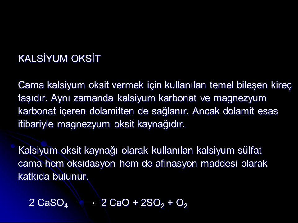 KALSİYUM OKSİT Cama kalsiyum oksit vermek için kullanılan temel bileşen kireç taşıdır.