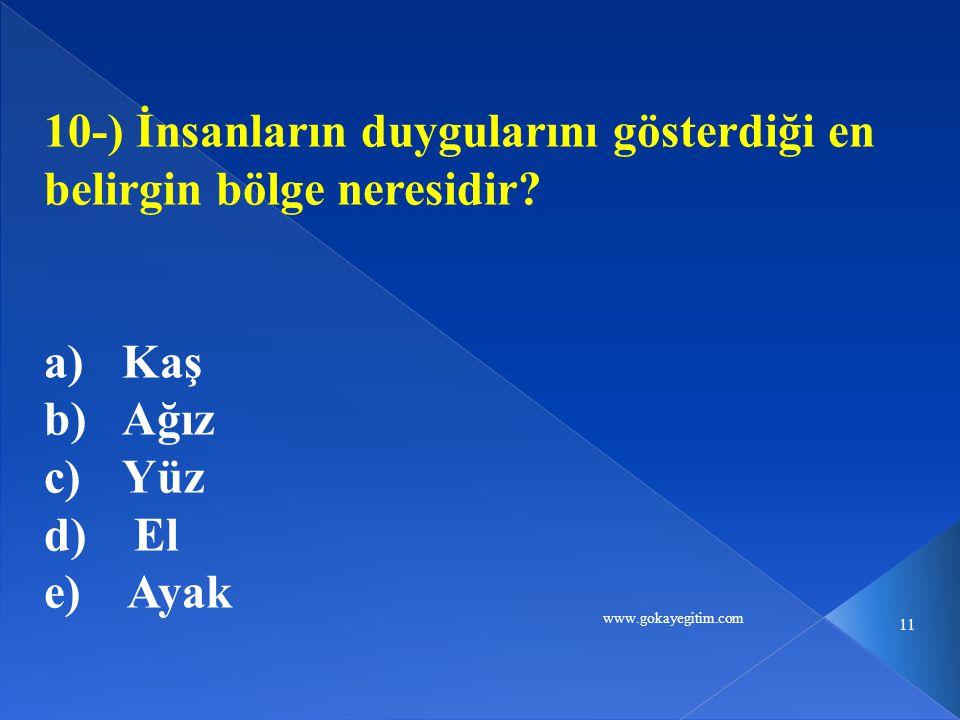 www.gokayegitim.com 11 10-) İnsanların duygularını gösterdiği en belirgin bölge neresidir? a)Kaş b)Ağız c)Yüz d) El e) Ayak