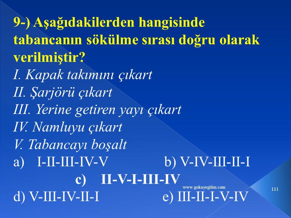 www.gokayegitim.com 111 9-) Aşağıdakilerden hangisinde tabancanın sökülme sırası doğru olarak verilmiştir.