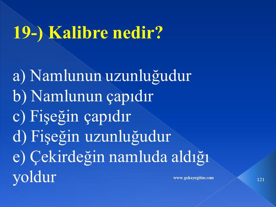 www.gokayegitim.com 121 19-) Kalibre nedir.