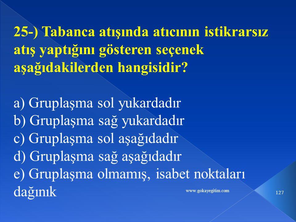 www.gokayegitim.com 127 25-) Tabanca atışında atıcının istikrarsız atış yaptığını gösteren seçenek aşağıdakilerden hangisidir? a) Gruplaşma sol yukard