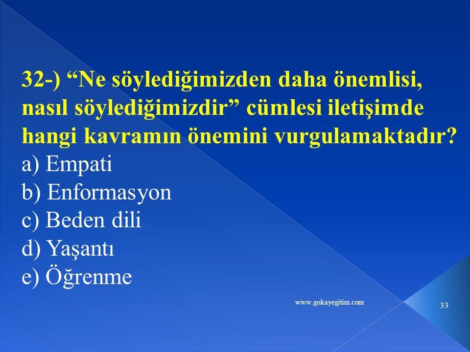 www.gokayegitim.com 33 32-) Ne söylediğimizden daha önemlisi, nasıl söylediğimizdir cümlesi iletişimde hangi kavramın önemini vurgulamaktadır.